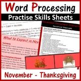 Microsoft Word Processing Activity - November & Thanksgiving