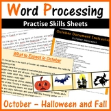 Microsoft Word Processing Activity - October, Halloween and Fall
