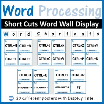 Microsoft Word Processing Shortcuts Word Wall