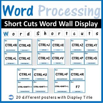 Microsoft Word Processing Shortcuts Word Wall