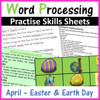 Microsoft Word Processing Activity - April, Easter, Earth Day