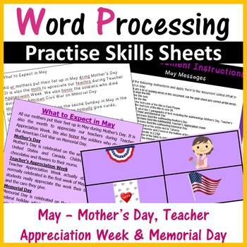 Microsoft Word Monthly Activity (May), Mothers Day, Memorial Day etc...