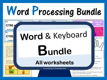 Microsoft Word Processing Worksheets Bundle for Younger Years