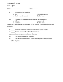 Microsoft Word Quiz