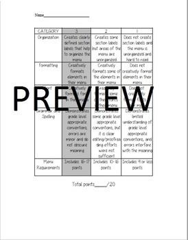 Microsoft Word Restaurant Menu Project