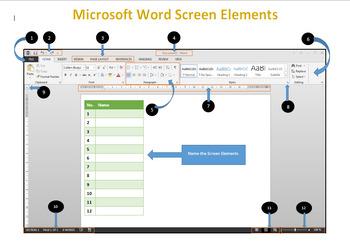 Microsoft Word Screen Elements Worksheet