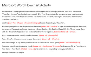 Flowchart Activity Project for Teaching Microsoft Word Skills