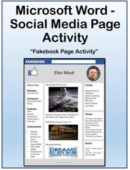 Microsoft Word Skills - Social Media Page Activity
