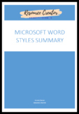 Microsoft Word Styles Summary Sheet