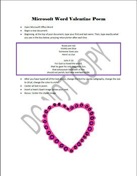 Microsoft Word Valentine Poem