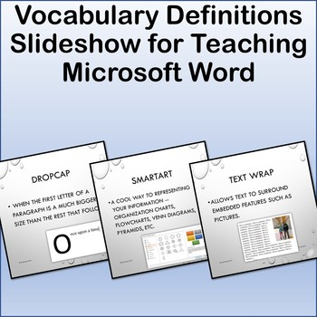 Microsoft Word Vocabulary Definitions Show