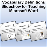 Vocabulary Definitions Slideshow for Teaching Microsoft Word