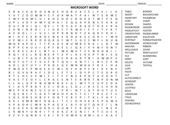 Microsoft Word:  Word Search