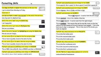 Microsoft Word formatting skills