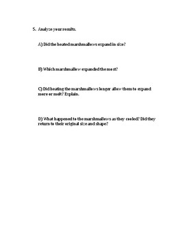 Microwave Marshmallow Experiment Questions Worksheet