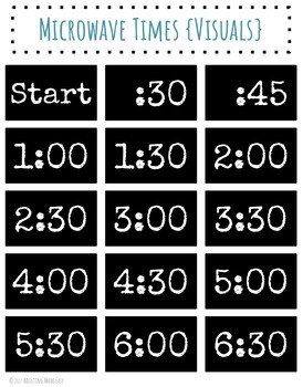 Microwave Times {Visuals} Independent Living FREEBIE Life Skills Cooking Kitchen