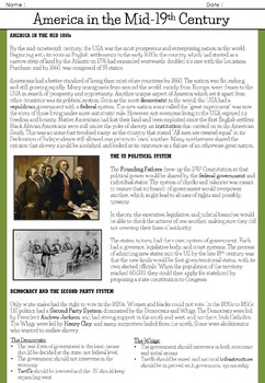 Mid-19th Century USA : Mini-Lesson Set