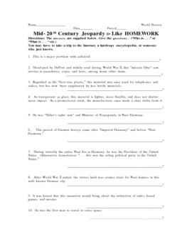 mid-20th Century Jeopardy-like Homework