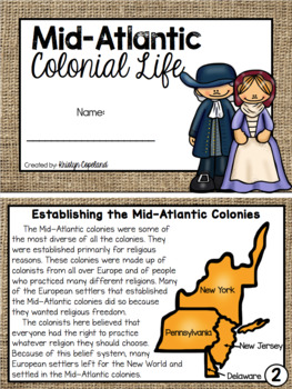 Mid-Atlantic Colonies Mini Book