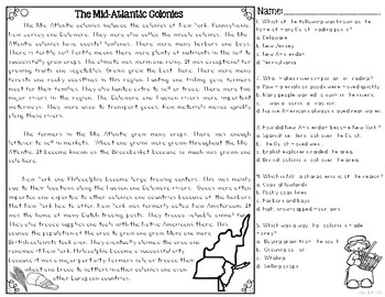 Mid-Atlantic Colonies Passages Differentiated Reading Texts Colonial America