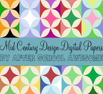 Mid Century Modern Digital Background Papers Seasonal & Pretty Colors Commercial