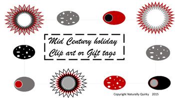 Mid Century Modern  HOLIDAY tags / clip art