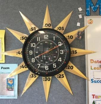 Mid Century Starburst Analog Clock Labels