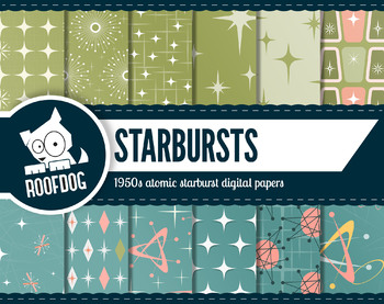 Mid-Century-modern 1950s atomic starburst digital paper, retro atomic designs