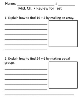 Mid. Ch. 7 Review Worksheet for Test - Go Math -Third Grade