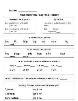 Mid/End of Year Kindergarten Progress Report