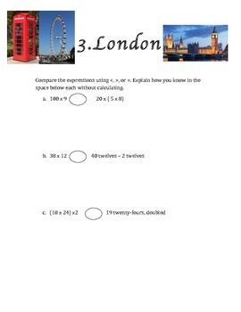 """Mid Module 2 Test """"Around the World"""" Review Game Grade 5 Engage NY Eureka Math"""