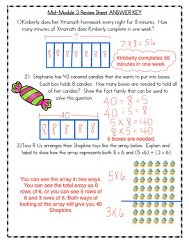 Mid-Module 3 Review Sheet - Grade 3 (Eureka Math / Engage NY)