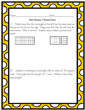Mid-Module 4 Review Sheet - Grade 3 (Eureka Math / Engage NY)