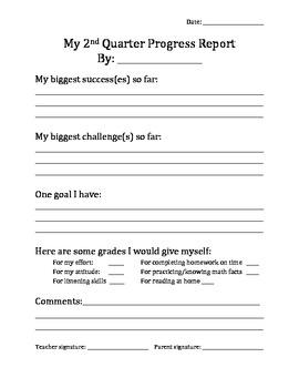 Mid Quarter Self Progress Report    Student Self Assessment And Goal Setting