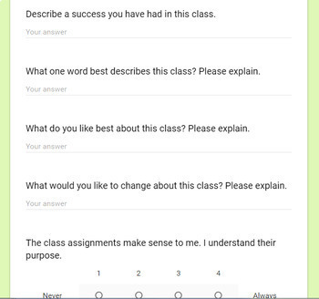 Google Form Student Questionnaire for Self-Reflection and Goal Setting