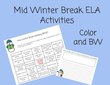 February Break Reading Challenges BINGO and Writing Prompt
