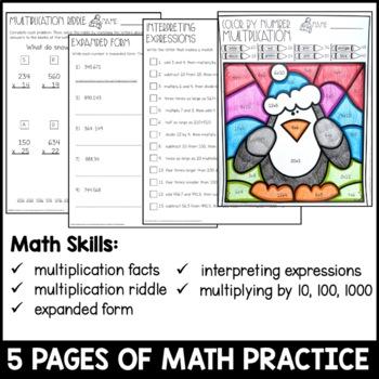 Mid Winter Break Homework Packet 5th Grade