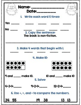 Mid Winter Break Review Packet: First Grade *Common Core Aligned*