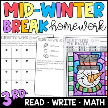 Mid Winter Break Homework Packet 3rd and 4th Grades