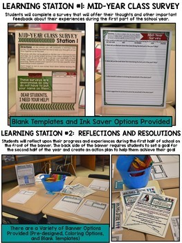 Mid-Year Learning Stations for Middle School with EDITABLE Templates