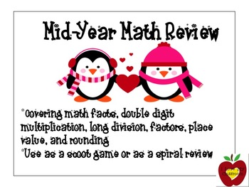 Math Review Task Cards (Penguin)