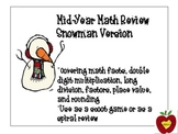 Math Review Task Cards (Snowman)