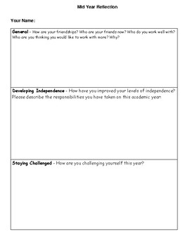 Mid-Year Reflection Booklet {Parents as Partners}