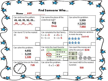 Mid-year Math Review 3rd Grade