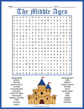 Middle Ages Word Search Puzzle