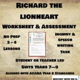 Richard the Lionheart - Middle Ages Assessment Task - Medi