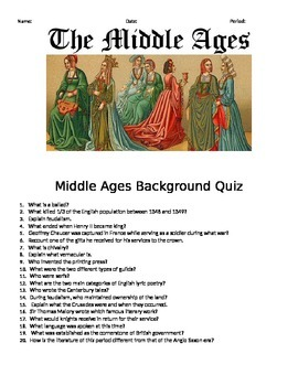 Middle Ages Background Quiz