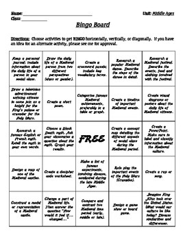 Middle Ages - Bingo Project