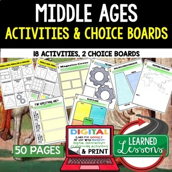 Middle Ages Choice Board Activities (Paper and Google Drive Versions)