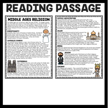 Middle Ages Christianity and the Catholic Church  Comprehension Worksheet